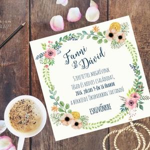 Vintage Esküvői meghívó,Rusztikus, Vintage meghívó, Rusztikus Esküvői lap, tavaszi, virágos meghívó, Esküvő, Meghívó, ültetőkártya, köszönőajándék, Naptár, képeslap, album, Otthon & lakás, Képeslap, levélpapír, Fotó, grafika, rajz, illusztráció, Papírművészet, Esküvői  Meghívó:\n* Meghívó lap 1 oldalas 13x13cm\n* fényes boríték: 14x14cm\n\n* SZERKESZTÉSI DÍJ: 300..., Meska
