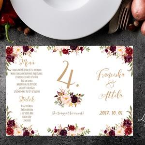 Esküvői Menü, Rusztikus esküvői dekoráció, bordó, arany, rózsás, natúr, menüsor, itallap, italok, asztalszám, őszirózsa, Esküvő, Meghívó, ültetőkártya, köszönőajándék, Esküvői dekoráció, Dekoráció, Otthon & lakás, Fotó, grafika, rajz, illusztráció, Papírművészet, Esküvői Álló Háromszög Menü Szalaggal vagy spárgával kötve\n\nGyönyörű Igényes Esküvői Menükártya \n3-s..., Meska
