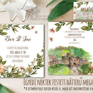 EGYEDI FESTETT HÁTTERŰ Rusztikus Esküvői meghívó, Virágos, szőlő, bor, Rusztikus Esküvői lap, vadvirágos tavaszi meghívó, Esküvő, Meghívó, Meghívó & Kártya, Egyedi Festett Hátterű Minőségi Rusztikus Esküvői Meghívó  Szeretnéd, hogy az esküvő vagy első rande..., Meska