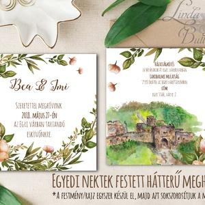 EGYEDI FESTETT HÁTTERŰ Rusztikus Esküvői meghívó, Virágos, szőlő, bor, Rusztikus Esküvői lap, vadvirágos tavaszi meghívó (LindaButtercup) - Meska.hu