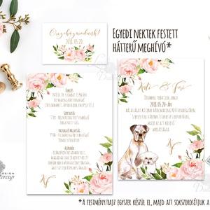 EGYEDI FESTETT HÁTTERŰ KUTYÁS Esküvői meghívó, Virágos, Romantikus, Elegáns, festmény, kutya, cica, állatos rajz, design (LindaButtercup) - Meska.hu