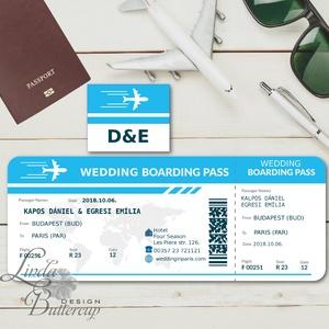 Beszállókártya Meghívó, Repülő meghívó, Repülőjegy, jegy, kártya, utazás, bérlet, boarding pass, travel, airplane (LindaButtercup) - Meska.hu