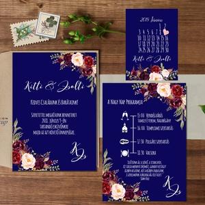 Kék Esküvői meghívó, Bordó meghívó, Nyári Esküvő, Tenger kék meghívó, Barack virágok, virágos meghívó, Modern, navy, Esküvő, Meghívó, ültetőkártya, köszönőajándék, Naptár, képeslap, album, Otthon & lakás, Képeslap, levélpapír, Fotó, grafika, rajz, illusztráció, Papírművészet, Minőségi Virágos Esküvői  Meghívó\n\n* MEGHÍVÓ CSOMAG BORÍTÉKKAL:\n- 1.  -Meghívó lap, egy oldalas: kb...., Meska