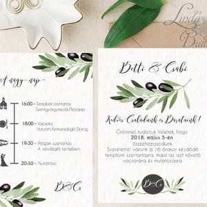 Greenery Meghívó, olívabogyó,  zöld Esküvői meghívó, eukaliptusz, zöld leveles, levél, natúr meghívó, természetközeli, Esküvő, Meghívó, Meghívó & Kártya, Fotó, grafika, rajz, illusztráció, Papírművészet, Meska