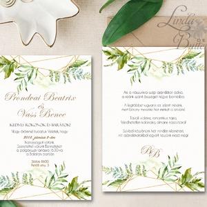 Greenery Meghívó, Geometriai Esküvői meghívó, Természetközeli, natúr, vízfesték, Esküvői kártya, virágos, vadvirág, zöld (LindaButtercup) - Meska.hu