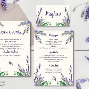 Levendula Virágos Esküvői meghívó, Pajta Esküvő, falu, Vintage Esküvői lap, vadvirág, Rusztikus, Bohém, lila, réti, rét (LindaButtercup) - Meska.hu