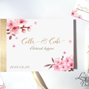 Cseresznye virágos Emlékkönyv, Esküvői Vendéggkönyv, rózsaszín, könyv, Esküvő, elegáns, napló, gyöngyház, cseresznyefa, Vendégkönyv, Emlék & Ajándék, Esküvő, Fotó, grafika, rajz, illusztráció, Papírművészet, Esküvői Virágos A5-ös Emlékkönyv.\n\nElegáns Arany fényű gerinc borítással és szalaggal.\nA gerinc és s..., Meska