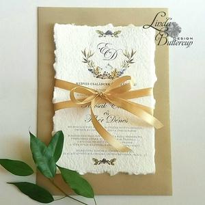 Címeres Esküvői meghívó, Monogram meghívó, arany meghívó, virágos meghívó, vízfesték hatású, címer, merített papír, Esküvő, Meghívó, ültetőkártya, köszönőajándék, Naptár, képeslap, album, Otthon & lakás, Képeslap, levélpapír, Fotó, grafika, rajz, illusztráció, Papírművészet, Minőségi Esküvői Meghívó \n\n** MEGHÍVÓ BORÍTÉKKAL **\n-  Meghívó lap, egy oldalas: hátulja üres (kicsi..., Meska