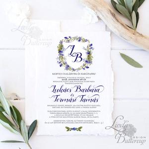 Címeres Esküvői meghívó, Monogram meghívó, kék meghívó, virágos meghívó, vízfesték hatású, címer, merített papír (LindaButtercup) - Meska.hu