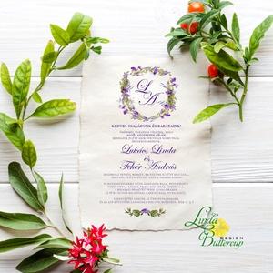 Címeres Esküvői meghívó, Monogram meghívó, lila meghívó, virágos meghívó, vízfesték hatású, címer, merített papír, Esküvő, Meghívó, Meghívó & Kártya, Minőségi Esküvői Meghívó MERÍTETT PAPÍRON  ** MEGHÍVÓ BORÍTÉKKAL ** -  Meghívó lap, egy oldalas: hát..., Meska