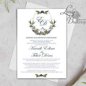 Címeres Esküvői meghívó, Monogram meghívó, arany meghívó, virágos meghívó, vízfesték hatású, címer, natúr, letisztult, Esküvő, Meghívó, Meghívó & Kártya, Fotó, grafika, rajz, illusztráció, Papírművészet, Meska