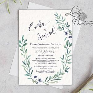 Levélkoszorú Meghívó, Greenrey, Bohó Esküvői meghívó, eukaliptusz, zöld leveles, levél, natúr meghívó, természetközeli (LindaButtercup) - Meska.hu