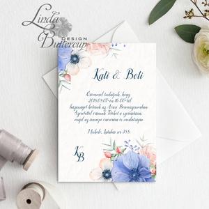 Kék Virágos Esküvői meghívó, Nyári Esküvő, rózsa, elegáns, romantikus, tavaszi, virágos meghívó, rózsás, pasztell (LindaButtercup) - Meska.hu