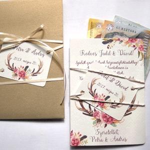 Pénz átadó boríték, Nászajándék, Gratulálunk képeslap, Esküvői Gratuláció, Esküvői pénz lap, Nászajándék, Emlék & Ajándék, Esküvő, Fotó, grafika, rajz, illusztráció, Papírművészet, Igényes Rusztikus Pénz Átadó Képeslap Prémium fényes Borítékkal\n\nAdd át nászajándékodat ezzel a gyön..., Meska