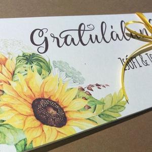Pénzátadó boríték, Napraforgó, Nászajándék, Gratulálunk képeslap, Esküvői Gratuláció, zöld, rét, pénz átadó lap, sárga,, Nászajándék, Emlék & Ajándék, Esküvő, Fotó, grafika, rajz, illusztráció, Papírművészet, Igényes Egyedi Személyre szóló Pénz Átadó Zsebes Boríték Szalaggal átkötve.\n\nAdd át nászajándékodat ..., Meska