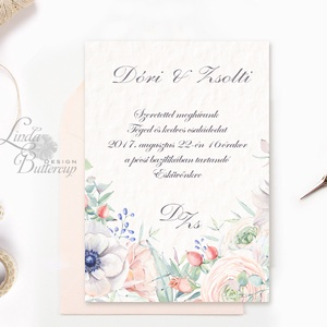 Pasztell Virágos Esküvői meghívó, Nyári Esküvő, rózsa, elegáns, romantikus, tavaszi, virágos meghívó, rózsás, kövirózsa (LindaButtercup) - Meska.hu