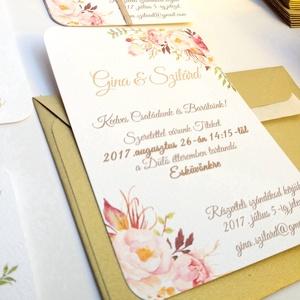 Angol Esküvői meghívó, Elegáns Esküvő, Arany meghívó, Barack virág, virágos meghívó, Modern, Rózsás, Rózsa, Romantikus (LindaButtercup) - Meska.hu