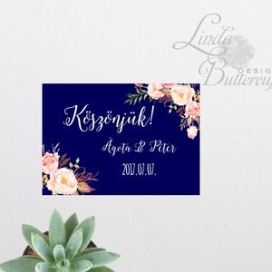 Esküvői köszönetkártya, ültető kártya, ültetők, köszönjük lap, köszönetajándék, ajándékkísérő, kék virágos (LindaButtercup) - Meska.hu