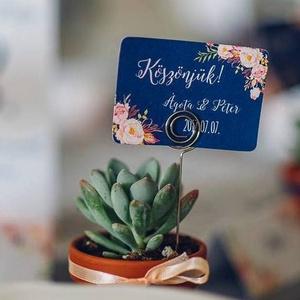 Esküvői köszönetkártya, ültető kártya, ültetők, köszönjük lap, köszönetajándék, ajándékkísérő, kék virágos, Esküvő, Köszönőajándék, Emlék & Ajándék, Elegáns, Romantikus virágos Esküvői Köszönetkártya / Ültetőkártya  Kis-kártya mérete: kb. : 5.3x7.5c..., Meska