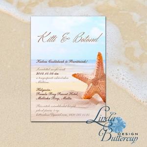 Nyári Esküvői Meghívó, Tengerparti meghívó, Nyári esküvő, Nyaralás, tengerpart, tenger, tengericsillag, kék, türkiz (LindaButtercup) - Meska.hu