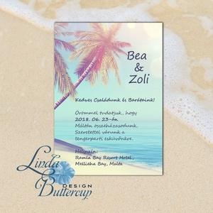 Nyári Esküvői Meghívó, Tengerparti meghívó, Nyári esküvő, Nyaralás, tengerpart, tenger, tengericsillag, sziget, pálma (LindaButtercup) - Meska.hu