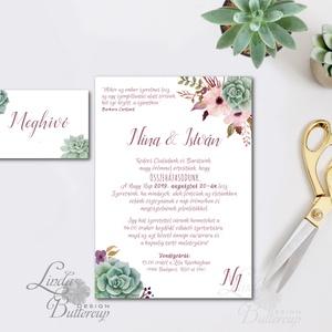 Kövirózsa Meghívó, zöld Esküvői meghívó, lila, mályva virágos, zöld leveles, levél, natúr meghívó, természetközeli, Esküvő, Meghívó, Meghívó & Kártya, Minőségi Virágos Esküvői  Meghívó  * MEGHÍVÓ CSOMAG BORÍTÉKKAL: - 1.  Meghívó lap, egy oldalas: 10cm..., Meska