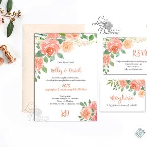 Vízfesték Virágos Esküvői meghívó, Barack Virágos Esküvői lap, Esküvő Képeslap, pink, bazsarózsa, rózsás, korall, lazac (LindaButtercup) - Meska.hu