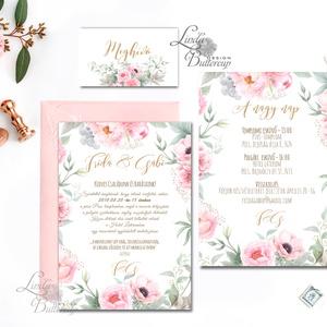 Virágos Esküvői meghívó, Rózsakert, elegáns meghívó, Barack virág, virágos meghívó, Rózsás, Rózsa, zöld, titkoskert, Esküvő, Meghívó, Meghívó & Kártya, Fotó, grafika, rajz, illusztráció, Papírművészet, Meska