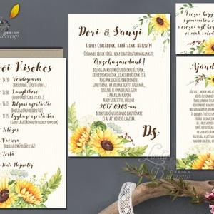 Napraforgó Esküvői meghívó, Rusztikus meghívó, Bohém esküvő, Pajta esküvő, vadvirág, réti virág, sárga virágos meghívó (LindaButtercup) - Meska.hu