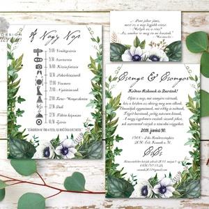 Erdei Esküvői meghívó, Greenery Esküvő, Rusztikus meghívó, erdei virágos, vad virág, Bohém, zöld, fehér, réti, erdő, Esküvő, Meghívó, Meghívó & Kártya, Minőségi Virágos Esküvői  Meghívó  * MEGHÍVÓ CSOMAG BORÍTÉKKAL: - 1.  -Meghívó lap, egy oldalas: kb...., Meska
