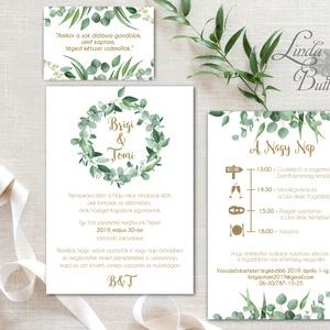 Greenery Esküvői meghívó, Levélkoszorú, Rusztikus meghívó, Natúr meghívó, erdei, natur, zöld levelek, természetközeli, Esküvő, Meghívó, ültetőkártya, köszönőajándék, Esküvői dekoráció, Naptár, képeslap, album, Otthon & lakás, Fotó, grafika, rajz, illusztráció, Papírművészet, Minőségi Greenery Esküvői  Meghívó\n\n* MEGHÍVÓ CSOMAG BORÍTÉKKAL:\n- 1.  -Meghívó lap, egy oldalas: kb..., Meska