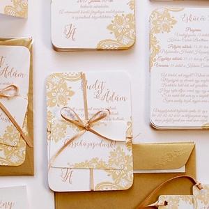 Csipkés Esküvői meghívó szett 3 darabos+boírték, Elegáns meghívó, Vintage Esküvő, Arany, Csipke meghívó, Romantikus , Esküvő, Meghívó, Meghívó & Kártya, Minőségi Virágos Esküvői  Meghívó  * MEGHÍVÓ CSOMAG BORÍTÉKKAL: - 1.  -Meghívó lap, egy oldalas: kb...., Meska