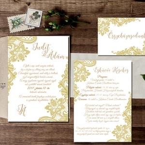 Csipkés Esküvői meghívó szett 3 darabos+boírték, Elegáns meghívó, Vintage Esküvő, Arany, Csipke meghívó, Romantikus  (LindaButtercup) - Meska.hu