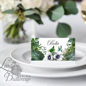 Esküvői ültetőkártya, greenery, ültető, natúr, természetközeli, ültetésirend, hely kártya, esküvői dekoráció, borostyán (LindaButtercup) - Meska.hu