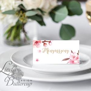 Cseresznyefa virágos, ültetőkártya, ültető, névkártya, rózsaszín Esküvői ültető, virágos, pink, tavaszi esküvő, nyári, Esküvő, Naptár, képeslap, album, Otthon & lakás, Meghívó, ültetőkártya, köszönőajándék, Esküvői dekoráció, Fotó, grafika, rajz, illusztráció, Papírművészet, Igényes, sátras, két oladalas asztali ültetőkártya\n\nMÉRETE összehajtva: kb: 4.5x9.2cm\n\n* SZERKESZTÉS..., Meska