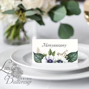 Elegáns ültetőkártya, rusztikus esküvő, party kártya, vintage, Esküvői ültető, natúr, romantikus (LindaButtercup) - Meska.hu