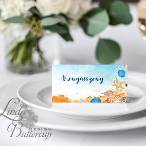 Esküvői ültető kártya, ültető, névkártya, név tábla, Esküvői dekor, dekoráció, nyári, nyár, tengerpart, beach, tenger (LindaButtercup) - Meska.hu