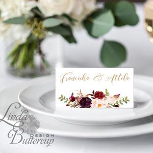 Esküvői ültetőkártya, ültető, Rózsás virágos ültetők, ültetésirend, hely kártya, név tábla, bordó, burgundy, őszi, ősz, Esküvő, Meghívó, ültetőkártya, köszönőajándék, Esküvői dekoráció, Naptár, képeslap, album, Otthon & lakás, Fotó, grafika, rajz, illusztráció, Papírművészet, Igényes, sátras, két oladalas asztali ültetőkártya\n\nMÉRETE összehajtva: kb: 4.5x9.2cm\n\n* SZERKESZTÉS..., Meska