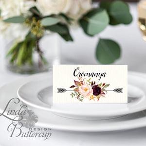 Esküvői ültetőkártya, ültető, Rózsás virágos ültetők, ültetésirend, hely kártya, név tábla, bordó, burgundy, őszi, ősz (LindaButtercup) - Meska.hu