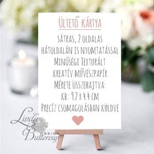 Esküvői ültetőkártya, meghívó, Rózsa virágos lap, Vintage, Retro Esküvői lap, Esküvő Képeslap - esküvő - meghívó & kártya - ültetési rend - Meska.hu
