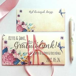Pénzátadó boríték, Nászajándék, Gratulálunk képeslap, Esküvői Gratuláció, virágos, pénz átadó lap, vintgae, hortenzia, Esküvő, Nászajándék, Meghívó, ültetőkártya, köszönőajándék, Otthon & lakás, Fotó, grafika, rajz, illusztráció, Papírművészet, Igényes Egyedi Személyre szóló Pénz Átadó Zsebes Boríték Szalaggal átkötve.\n\nAdd át nászajándékodat ..., Meska