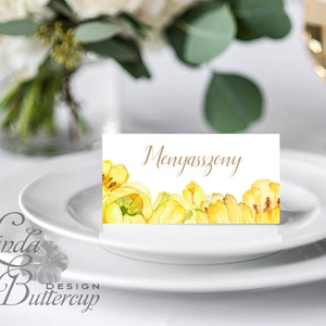 Esküvői ültetőkártya, tavaszi, tulipán, sárga, aranyeső, tavasz,elegáns esküvő, party kártya, vintage, Esküvői ültető, - Meska.hu