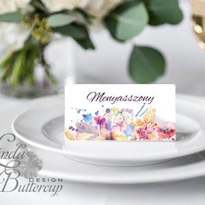 Esküvői ültetőkártya, meghívó, rózsa lap, rózsaszín Esküvői ültető, Esküvő Képeslap, virágos lap, - Meska.hu