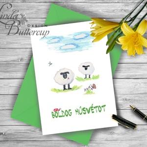 Bárányos Húsvéti Képeslap, Húsvéti lap, Boldog Húsvétot, Húsvéti üdvözlőlap, vicces, Boldog nyulat, bárány (LindaButtercup) - Meska.hu