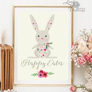 Nyuszis Kép, Húsvéti Print, Húsvéti kép, Boldog Húsvétot, Húsvéti falikép, Boldog nyulat, tavaszi dekoráció, virágos - Meska.hu