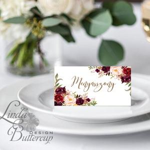 Esküvői ültetőkártya, meghívó, Rózsa virágos lap, Vintage, Retro Esküvői lap, Esküvő Képeslap, Esküvő, Ültetési rend, Meghívó & Kártya, Fotó, grafika, rajz, illusztráció, Papírművészet, Meska