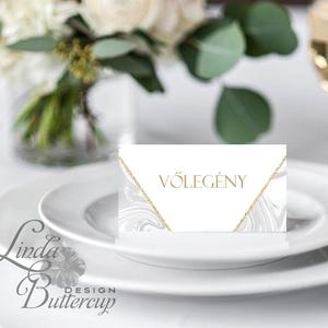 Elegáns ültetőkártya, esküvő, party kártya, dekoráció, Esküvői ültető, natúr, geometrikus, márvány, arany,  letisztult  (LindaButtercup) - Meska.hu
