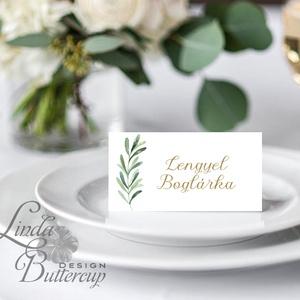 Esküvői ültető kártya, ültető, névkártya, név tábla, Esküvői dekor, dekoráció, levél, natúr, greenery, természetközeli, Esküvő, Meghívó, ültetőkártya, köszönőajándék, Esküvői dekoráció, Naptár, képeslap, album, Otthon & lakás, Fotó, grafika, rajz, illusztráció, Papírművészet, Igényes, sátras, két oladalas asztali ültetőkártya\n\nMÉRETE összehajtva: kb: 4.5x9.2cm\n\n* SZERKESZTÉS..., Meska