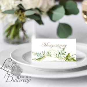 Elegáns ültetőkártya, esküvő, party kártya, dekoráció, Esküvői ültető, natúr, geometrikus, arany,  letisztult, greenery , Esküvő, Naptár, képeslap, album, Otthon & lakás, Meghívó, ültetőkártya, köszönőajándék, Esküvői dekoráció, Fotó, grafika, rajz, illusztráció, Papírművészet, Igényes, sátras, két oldalas asztali ültetőkártya\n\nMÉRETE összehajtva: kb: 4.5x9.2cm\n\n* SZERKESZTÉSI..., Meska