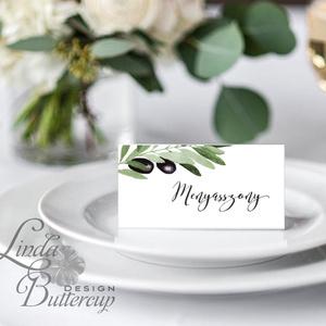 Esküvői ültető kártya, ültető, névkártya, név tábla, Esküvői dekor, dekoráció, oliva, natúr, greenery, természetközeli (LindaButtercup) - Meska.hu